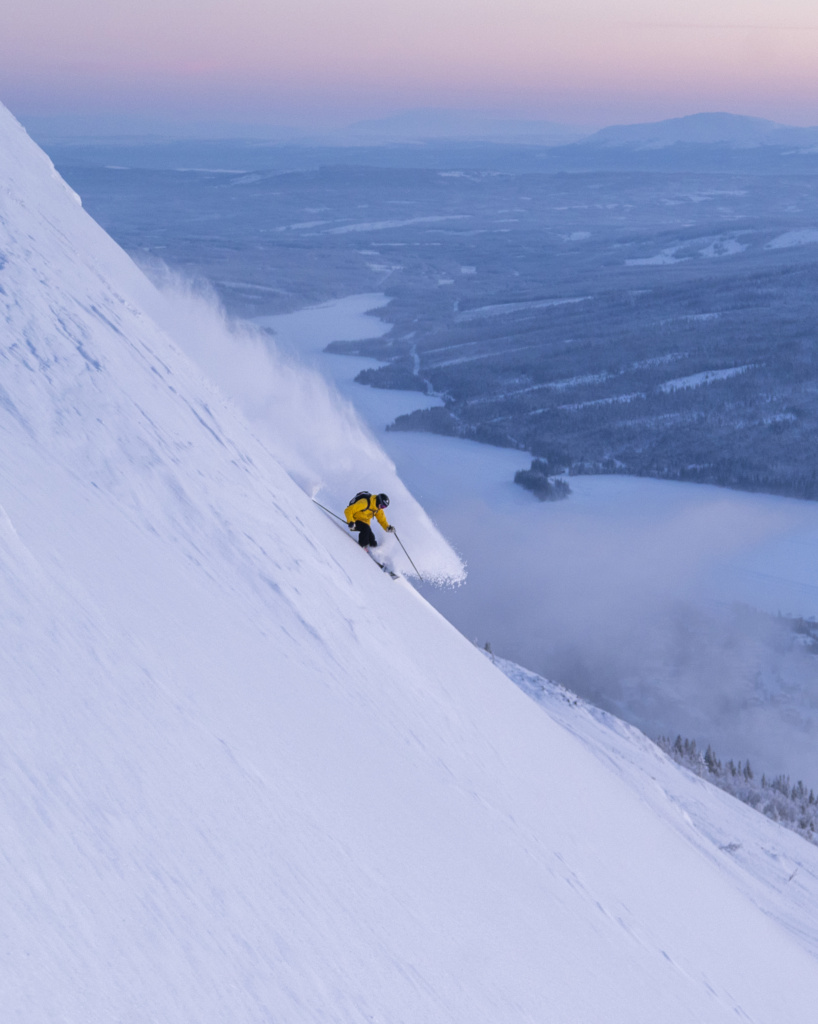 Reine Barkered skiing in sunset Åre Sweden, Photographer, filmmaker, Alexander Ryden, Skidåkning
